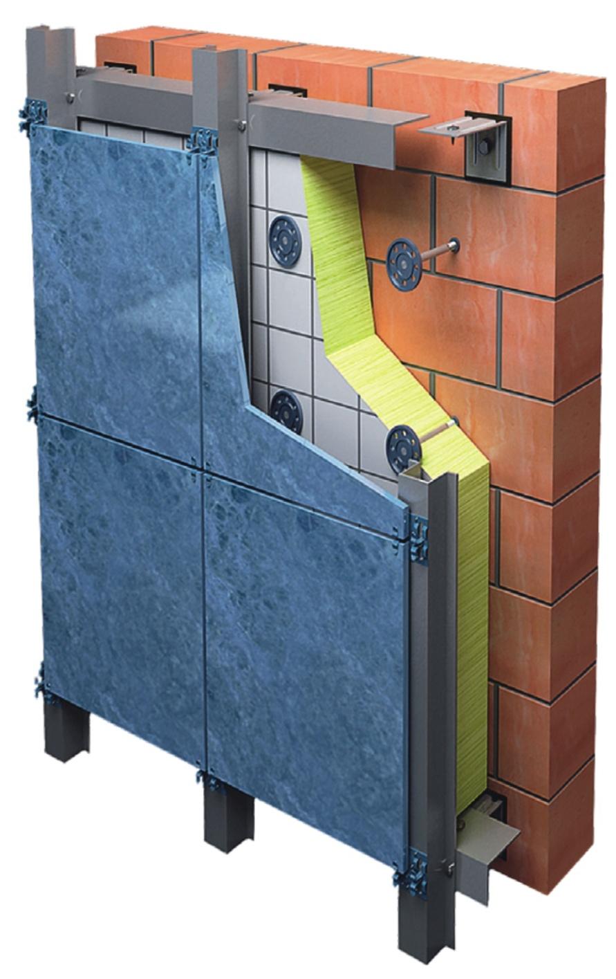 Вертикально-горизонтальная фасадная система с облицовкой из керамогранита