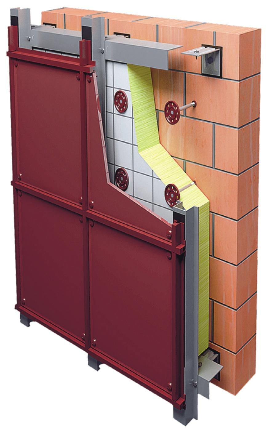 Вертикально-горизонтальная фасадная система с облицовкой из ФЦП