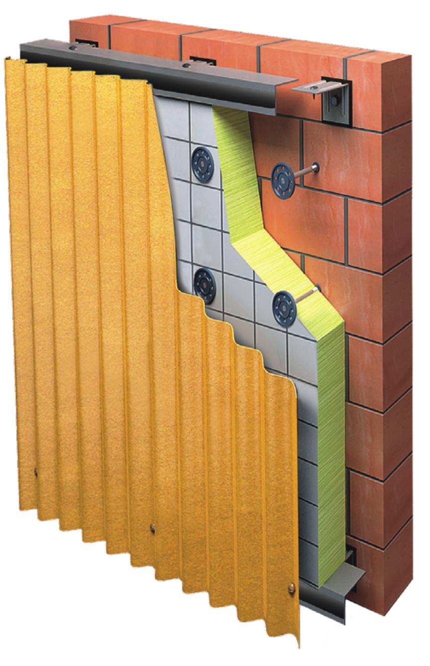 Вертикально-горизонтальная фасадная система с облицовкой из профлиста