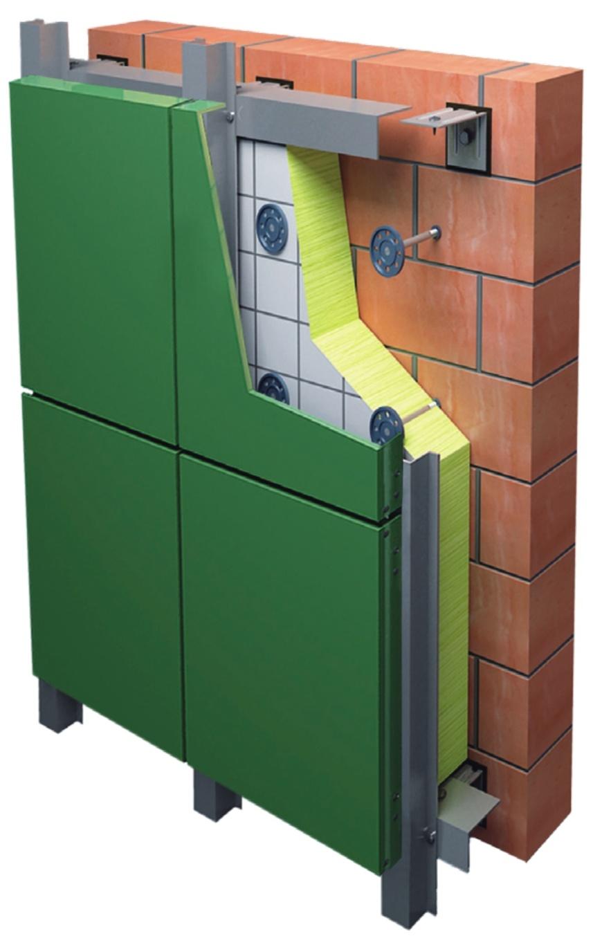 Вертикальная фасадная система с облицовкой из АКП