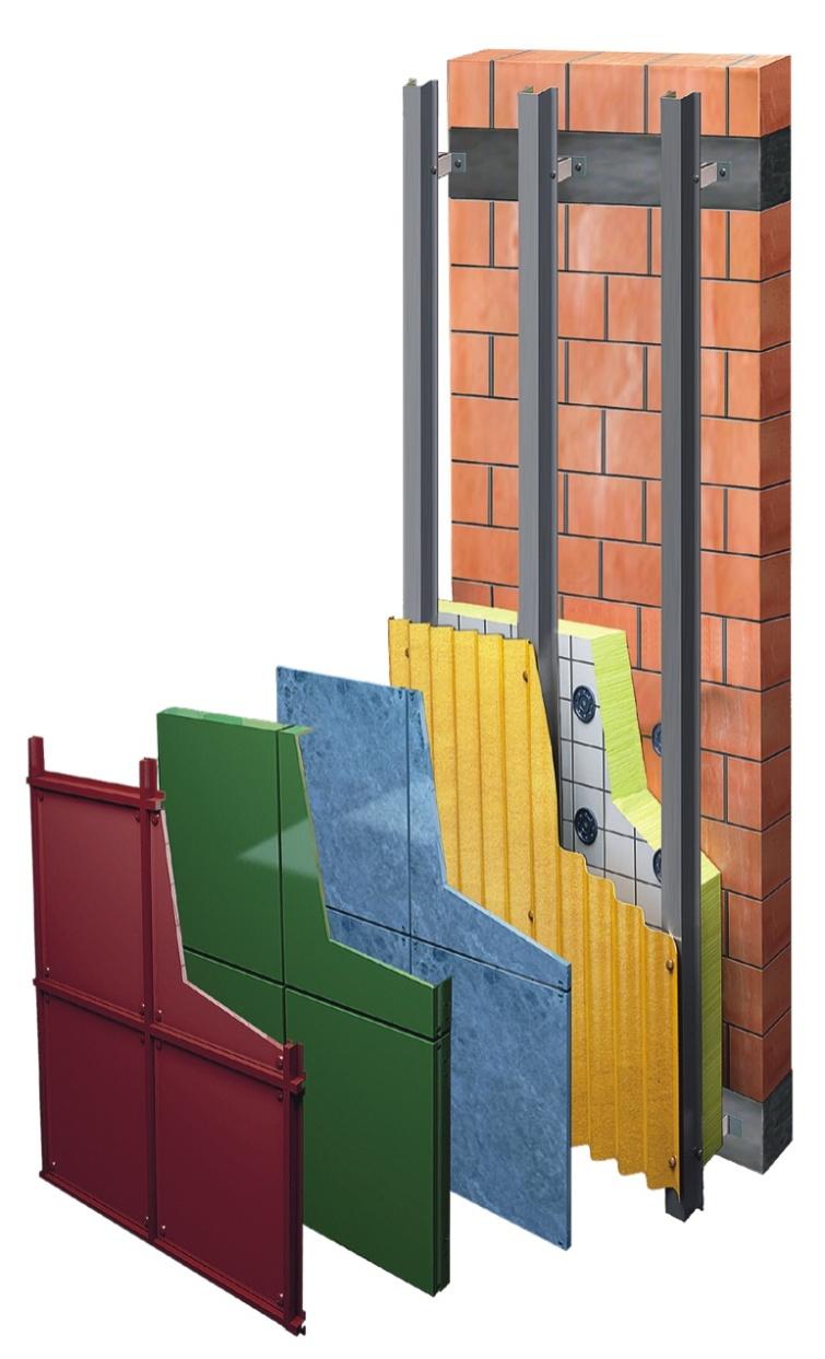 Межэтажная фасадная система с облицовкой из керамогранита